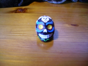 Painted potato-paste skull bead. Peru 2013. MAA Cambridge. Collected by B. Basura