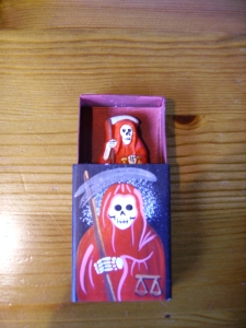 Santa Muerte figure in a matchbox. Peru 2013. Imported by MAA Cambridge. Collected by B.Basura