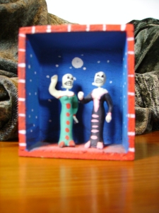 Calavera Ladies of the night boxed tableau. Los Angeles 1994. Donated by J. Kalinowski
